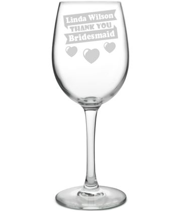 "Large Personalised Wine Glass - Bridesmaid Heart Design 20.5cm (8"")"
