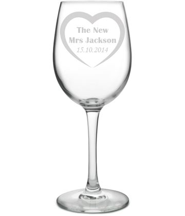 "Large Personalised Wine Glass - Bride Love Heart Design 20.5cm (8"")"