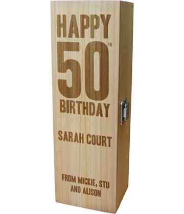 "Personalised Wooden Wine Box with Hinged Lid - Happy 50th Birthday 35cm (13.75"")"