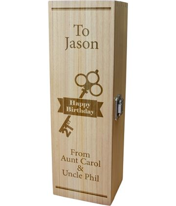 "Personalised Wooden Wine Box with Hinged Lid - Happy Birthday 21st Key 35cm (13.75"")"
