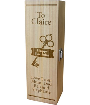 """Personalised Wooden Wine Box with Hinged Lid - Happy Birthday 18th Key 35cm (13.75"""")"""