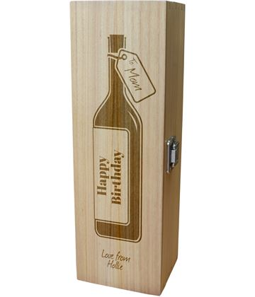 "Personalised Wooden Wine Box - Happy Birthday Mom Wine Bottle Design 35cm (13.75"")"