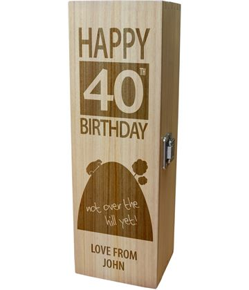 "Personalised Wooden Wine Box - Happy 40th Birthday Not Over The Hill 35cm (13.75"")"
