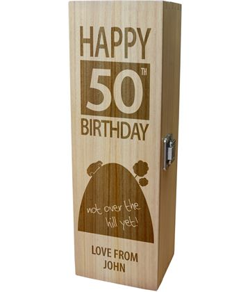 "Personalised Wooden Wine Box - Happy 50th Birthday Not Over The Hill 35cm (13.75"")"