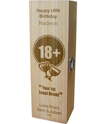 "Personalised Wooden Wine Box with Hinged Lid - Happy 18th Birthday 35cm (13.75"")"