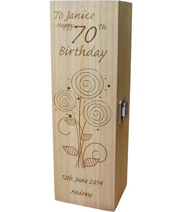 "Personalised Wooden Wine Box - Happy 70th Flower Design 35cm (13.75"")"
