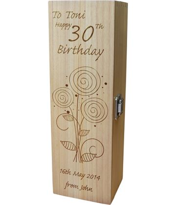 """Personalised Wooden Wine Box - Happy 30th Flower Design 35cm (13.75"""")"""
