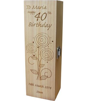 "Personalised Wooden Wine Box - Happy 40th Flower Design 35cm (13.75"")"
