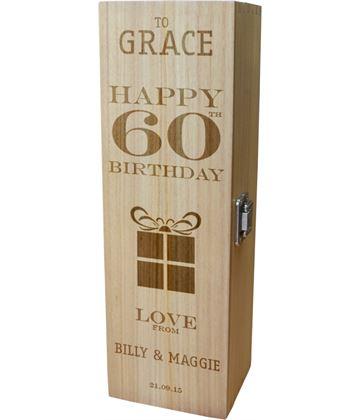 "Personalised Wooden Wine Box - Happy 60th Present Design 35cm (13.75"")"