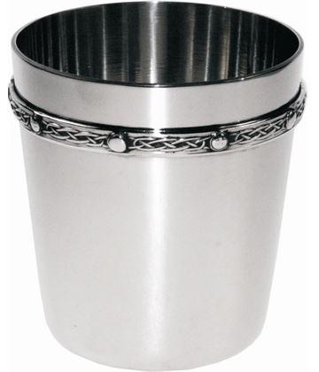 """Spun Pewter Tumbler with Celtic Band Detail 8.5cm (3.25"""")"""