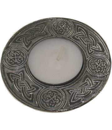 "Round Tea Light Celtic Candle Holder 8cm (3"")"