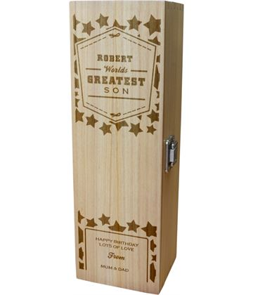 """Personalised Wooden Wine Box - World's Greatest Son 35cm (13.75"""")"""