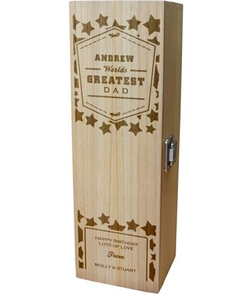 """Personalised Wooden Wine Box - World's Greatest Dad 35cm (13.75"""")"""