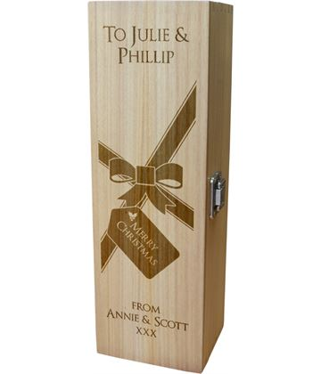 "Personalised Wooden Wine Box with Hinged Lid - Merry Christmas Present 35cm (13.75"")"