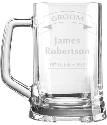 "Wedding Groom Personalised 1pt Plain Glass Tankard Ribbon Design 15cm (6"")"