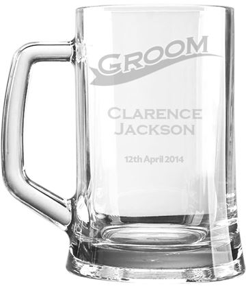 "Wedding Groom Personalised 1pt Plain Glass Tankard Stripe Design 15cm (6"")"