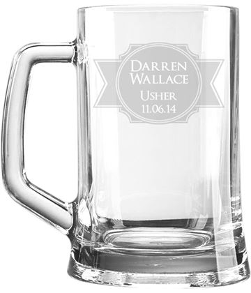 "Wedding Usher Personalised 1pt Plain Glass Tankard Stamp Design 15cm (6"")"
