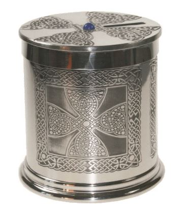 "Pewter Celtic Cross Money Box 10cm (4"")"