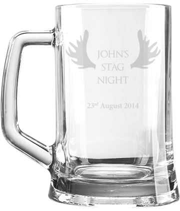 "Stag Night Personalised 1pt Plain Glass Tankard Antler Design 15cm (6"")"