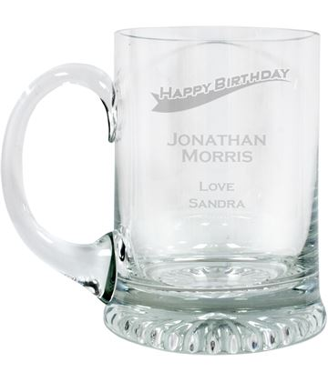 "Happy Birthday Personalised 3/4pt Lead Crystal Star Base Tankard 13cm (5.25"")"