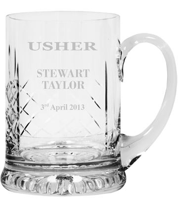 "Wedding Usher Personalised Cut Crystal 1pt Tankard 14cm (5.5"")"