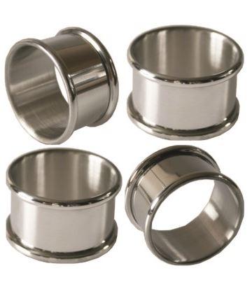 """Set of Four Plain Pewter Napkin Rings 5cm (2"""") Each"""