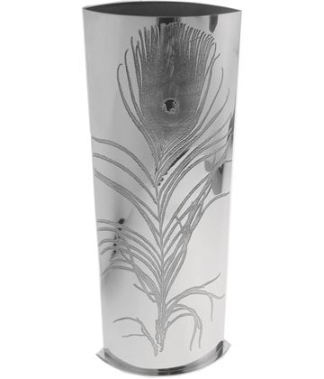 """Pewter Bud Vase with Peacock Feather Design 30cm (11.75"""")"""