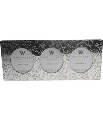 "Silver Pewter Triple Photo Frame with Rose Detail 11cm (4.25"")"