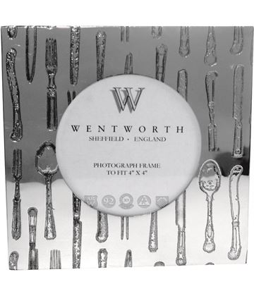 "Silver Pewter Photo Frame with Cutlery Detail 14cm (4.25"")"