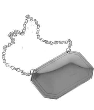 Plain Rectangle Decanter Label with Chain