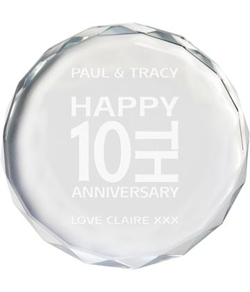 """Happy Anniversary Glass Crystal Paperweight 9cm (3.5"""")"""