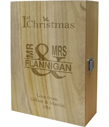 "Mr & Mrs 1st Christmas Double Wine Box 35cm (13.75"")"