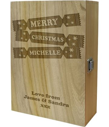 "Merry Christmas Double Wine Box - Cracker Design 35cm (13.75"")"