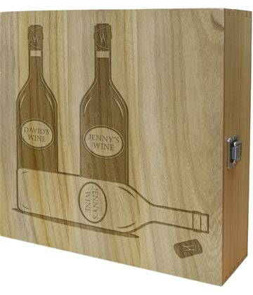 "His & Hers Triple Wine Box - Bottle Design 35cm (13.75"")"