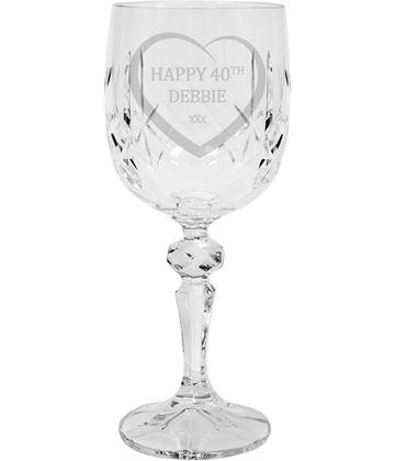 "Happy Birthday Personalised Crystal Wine Glass 18cm (7"")"