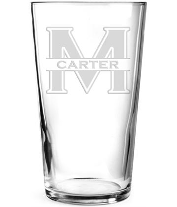 "Large Initial & Surname Personalised Pint Glass 15cm (6"")"