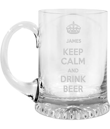 "Keep Calm Drink Beer Crystal Star Base Tankard 3/4pt 13cm (5.25"")"