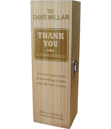 """Thank You Personalised Wine Box - Chunky Design 35cm (13.75"""")"""