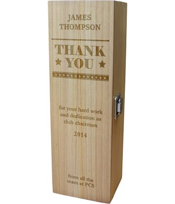 """Thank You Personalised Wine Box - Star Design 35cm (13.75"""")"""