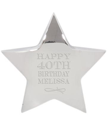 "Happy Birthday Silver Star Paperweight 10cm (4"")"