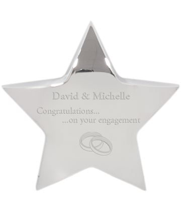 "Engagement Congratulations Silver Star Paperweight 10cm (4"")"