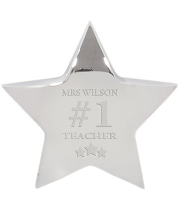 """Number One Silver Star Paperweight 10cm (4"""")"""
