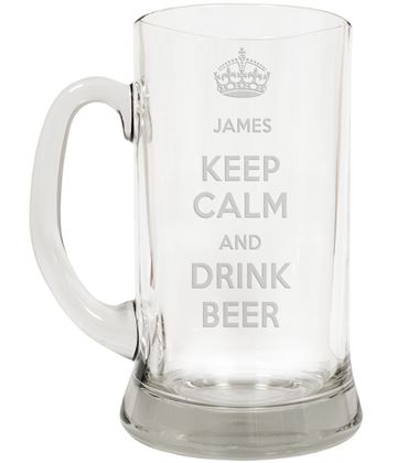 "Keep Calm & Drink Beer Large 2pt Glass Tankard 19.5cm (7.5"")"