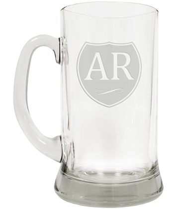 "Personalised Initials on Shield Design 2pt Glass Tankard 19.5cm (7.5"")"