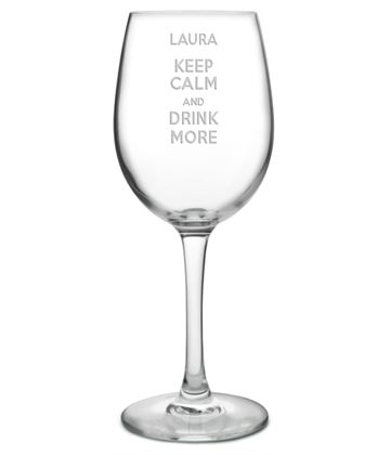 "Keep Calm & Drink More Large Personalised Wine Glass 20.5cm (8"")"
