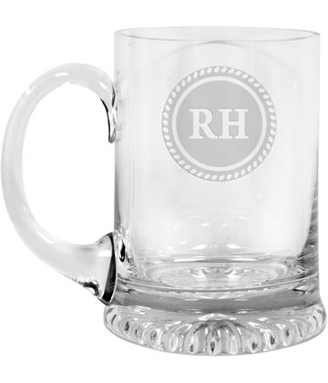 "Personalised Initials on Emblem Design Crystal Star Base Tankard 3/4pt 13cm (5.25"")"
