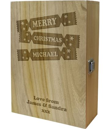 "Christmas Cracker Double Wine Box - Cracker Design 35cm (13.75"")"