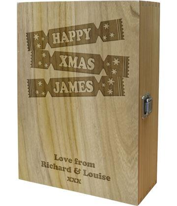 """Happy Xmas Cracker Double Wine Box - Cracker Design 35cm (13.75"""")"""