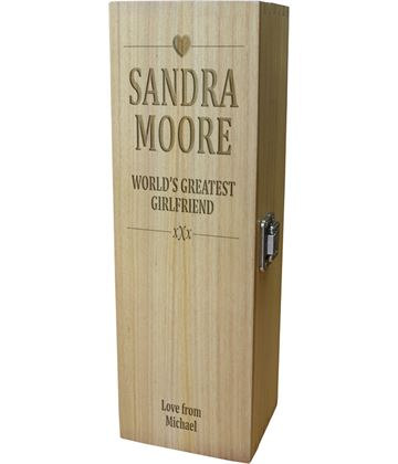 "World's Greatest Girlfriend Wine Box - Heart Design 35cm (13.75"")"