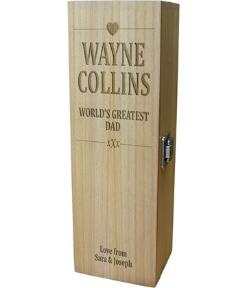 "World's Greatest Dad Wine Box - Heart Design 35cm (13.75"")"